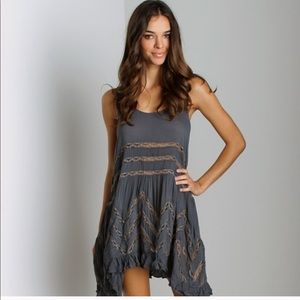 Free People Gray Voile Lace Trapeze Dress